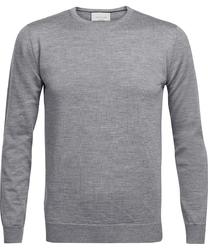 Sweter  pulower o-neck z wełny z merynosów szary melanż s