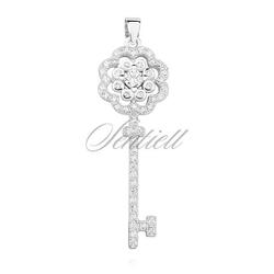Srebrna zawieszka klucz do serca pr.925 kwiat z cyrkoniamii