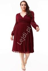 Plisowana lureksowa sukienka z mieniącymi się opiłkami plus size , ciemne wino 2410p