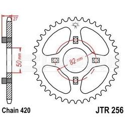 Zębatka tylna stalowa jt 256-43, 43z, rozmiar 420 2300522 honda st 50, cy 50