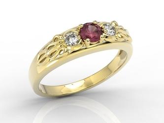 Pierścionek z żółtego złota z rubinem i diamentami bp-49z - żółte  rubin