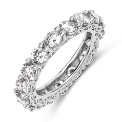 Firi 4 srebrny pierścionek obrączka cyrkonie 4mm