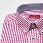 Koszula męska van thorn w różową kratę z kołnierzykiem na guziki - slim fit 48
