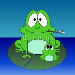 Obraz na płótnie canvas dwuczęściowy dyptyk żaby kreskówka na podkładce lilly