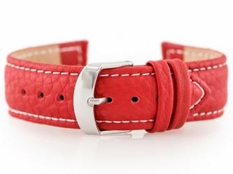 Pasek skórzany do zegarka W71 - czerwony - 22mm