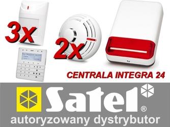 Zestaw alarmowy satel integra 24, klawiatura sensoryczna, 3 czujniki ruchu, 2 czujniki dymu, sygnalizator zewnętrzny spl-2030 - możliwość montażu - zadzwoń: 34 333 57 04 - 37 sklepów w całej polsce