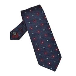 Granatowy krawat jedwabny w bordowe wzory