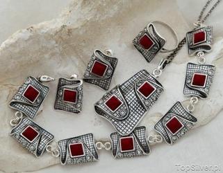 Mystic - srebrny komplet korale z kryształkami