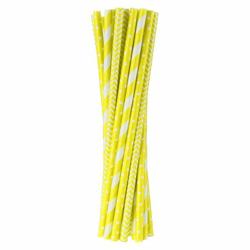 Słomki papierowe żółte, mix wzorów 24 szt.