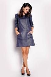 Granatowa sukienka trapezowa z eco-skóry
