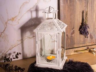 Latarenka  latarnia  lampion ozdobny wiszący metalowy altom design biała 38 cm