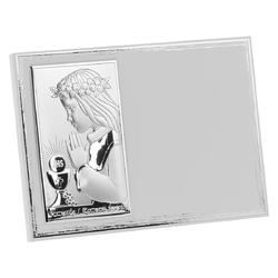 Obrazek srebrny biały panel dziewczynka pamiątka na i komunia św. grawer - obrazki na chrzest    obrazki na i komunię św.