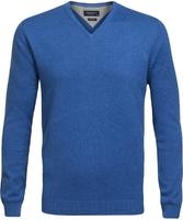 Niebieski sweter w serek  profuomo z bawełny pima m