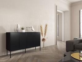 Czarna nowoczesna komoda dancan mirka  szer. 130 cm