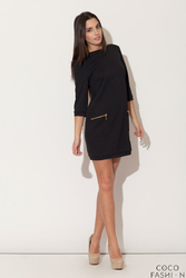 Czarna  Mini sukienka z Rękawem 34 i Kieszeniami