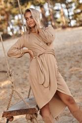 Asymetryczna sukienka z przekładanym dekoltem - beżowa