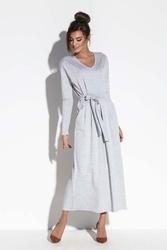 Szara długa sukienka w serek z wiązanym paskiem