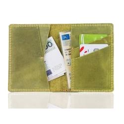 Skórzany męski portfel slim wallet brodrene sw07 zielony
