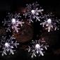 Lampki solarne 30 led joylight śnieżynki białe zimne programator
