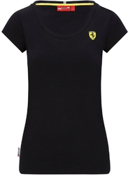 Koszulka damska scuderia ferrari f1 shield logo czarna - czarny