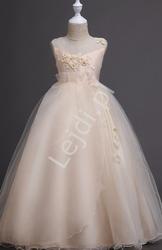 Długa sukienka dla dziewczynki w kolorze szampańskim 708