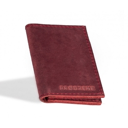 Czerwony skórzany portfel slim wallet brodrene sw03