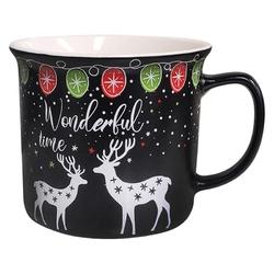Kubek świąteczny  na boże narodzenie porcelana altom design wonderful time czarny 350 ml