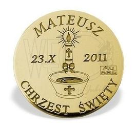 Grosz na szczęście ze złota m-3z doskonały na chrzest św. - na chrzest św.  ok. 16 mm