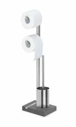 Stojak na papier toaletowy podwójny oraz szczotka do WC Menoto poler