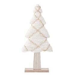 Ozdoba  dekoracja świąteczna  figurka dekoracyjna święta boże narodzenie altom design choinka z futerkiem biała 28 cm