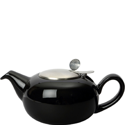 Mały dzbanek do herbaty z filtrem 0,5 Litra Pebble London Pottery czarny połysk LP-17282012