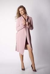 Jasnoróżowy płaszcz z długim rękawem