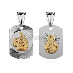 Srebrny medalik jezus  matka boska szkaplerzna