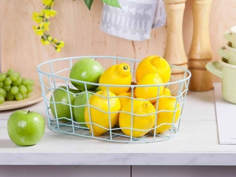 Koszyk metalowy  druciany na owoce owalny miętowy altom design mały