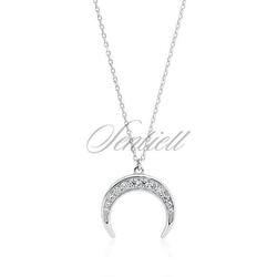 Srebrny naszyjnik pr.925 - półksiężyc z cyrkoniami - rodowanie