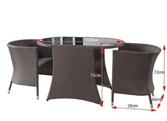 Zestaw mebli ogrodowych monica stół + 2 fotele ciemnobrązowy technorattan
