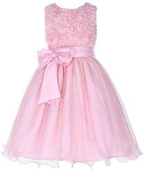 Jasnoróżowa sukienka dla dziewczynki z brokatem