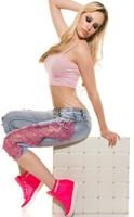 Rybaczki jeansowe z gipiurową różową koronką k600-390