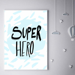 Super bohater na niebieskim tle - plakat Wymiar do wyboru: 40x50 cm