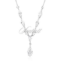 Srebrny, stylowy, ślubny naszyjnik pr.925 z cyrkoniamii