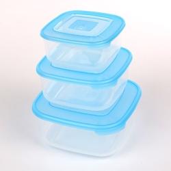 Śniadaniówka  pojemnik na śniadanie  do przechowywania tontarelli family food kwadratowy niebieski, zestaw 3 pojemników