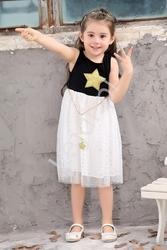 Bawełniana sukienka dla dziewczynki z tiulową spódnicą  w gwiazdki 289