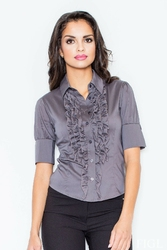 Elegancka szara koszula z falbankami w kolorze