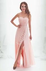 Wieczorowa suknia dla druhny, na wesele, na studniówkę, jasno różowa długa 2141