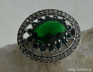 Antonina - srebrna broszka szmaragdy z kryształ