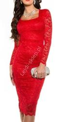 Czerwona koronkowa sukienka za kolano  335 -4 midi