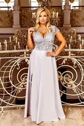 Elegancka popielata sukienka z krótkim koronkowym rękawem- crystal 2