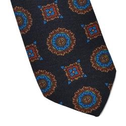 Granatowy krawat wełniany van thorn w duży wzór
