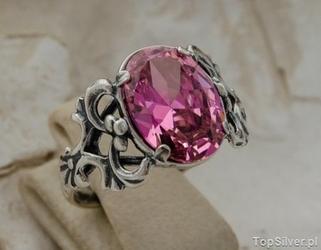 Campo - srebrny pierścionek z różowym kryształem