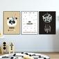 Zestaw plakatów dziecięcych - panda feathers , wymiary - 60cm x 90cm 3 sztuki, kolor ramki - czarny
